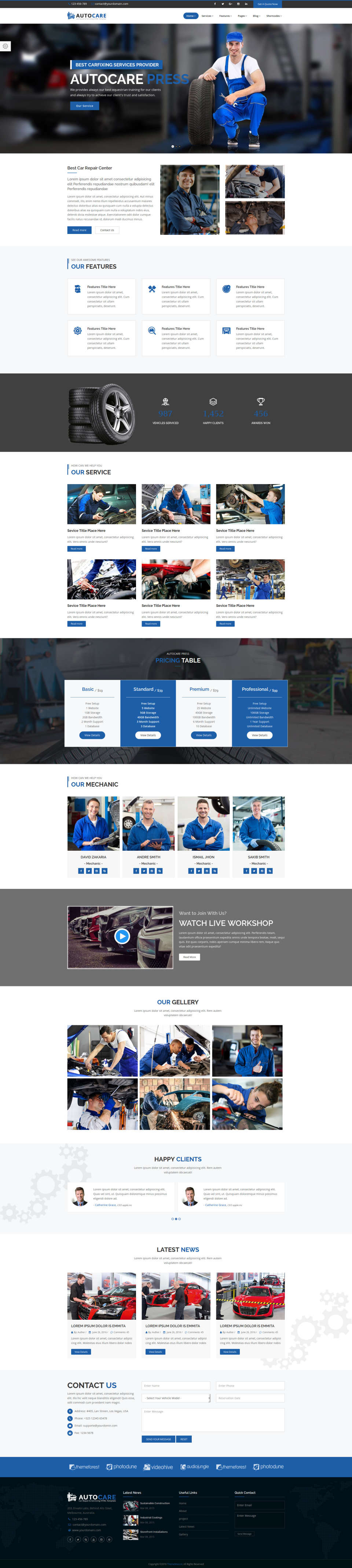 Strona internetowa dla warsztatu samochodowego