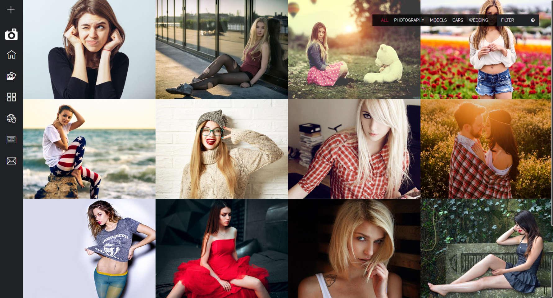 Strona internetowa dla fotografa z kafelkową prezentacją portfolio