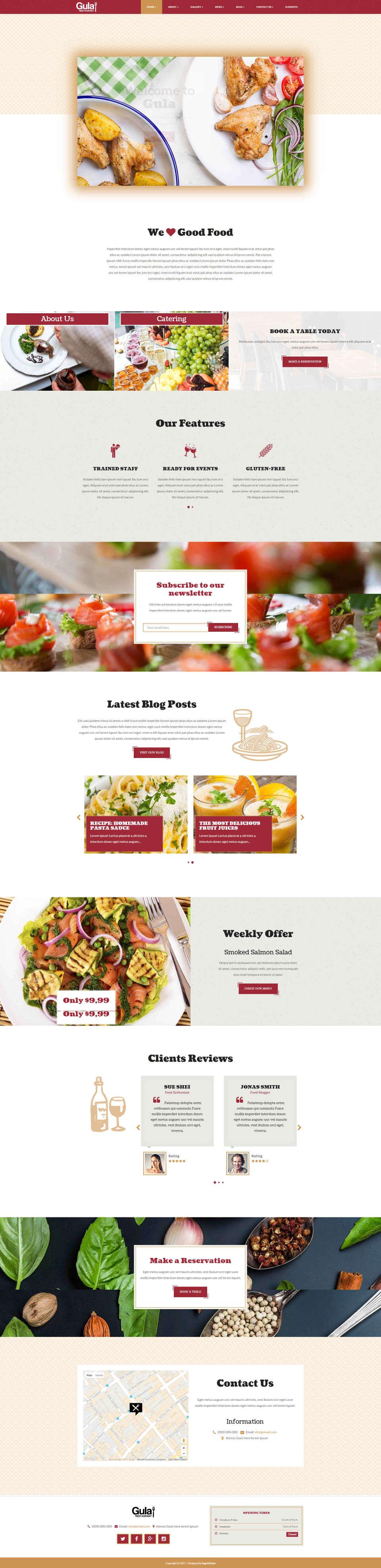 Responsywna strona internetowa dla firmy kateringowej lub prowadzącej restaurację lub kawiarnię