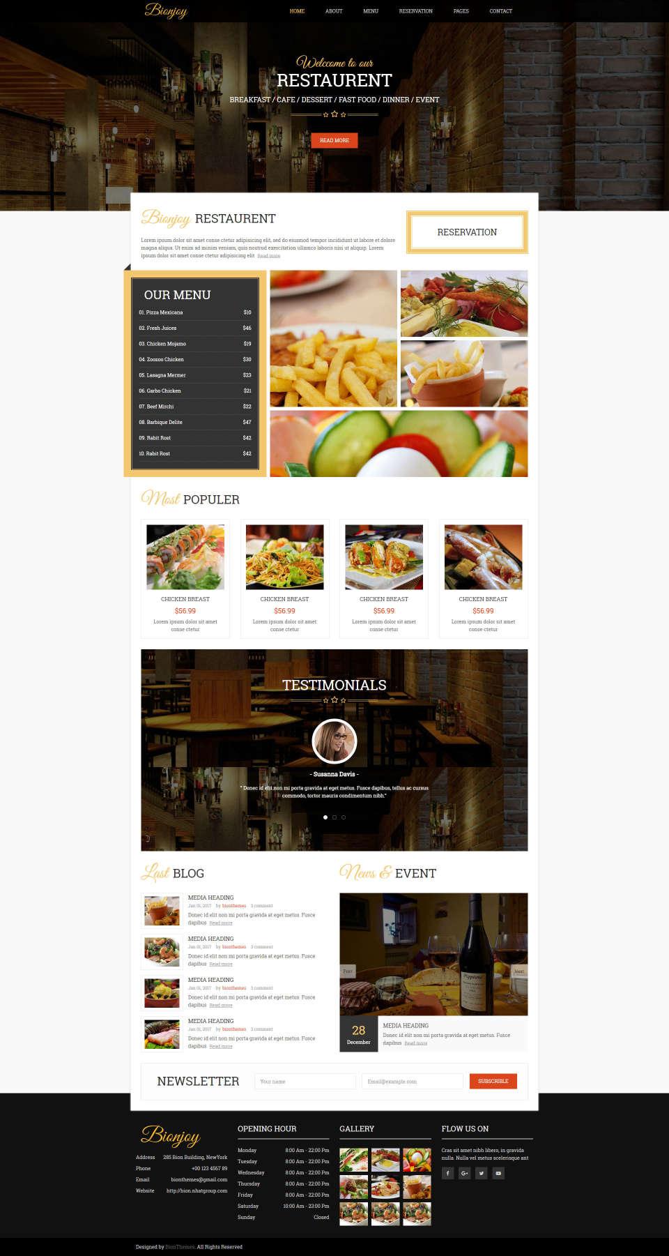 Responsywna strona internetowa dla restauracji z nowoczesną prezentacją menu